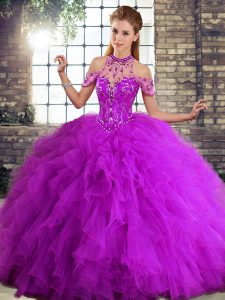 Fashion Purple Ball Gowns Tulle Halter Top Sleeveless Beading and Ruffles Floor Length Lace Up Sweet 16 Dress