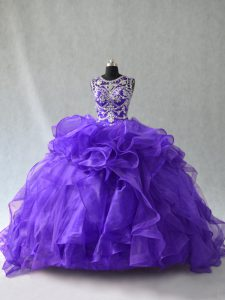 Purple Organza Lace Up Scoop Sleeveless Floor Length Quinceanera Dress Beading and Ruffles