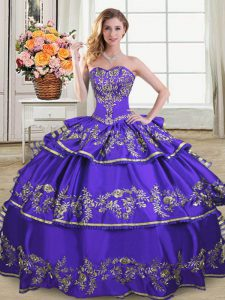 Perfect Sweetheart Sleeveless Vestidos de Quinceanera Floor Length Embroidery and Ruffled Layers Purple Satin and Organza