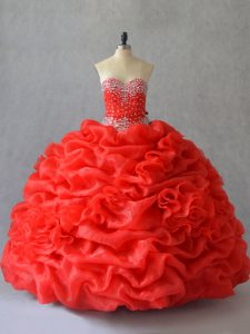 Fantastic Red Organza Lace Up Quinceanera Dress Sleeveless Floor Length Pick Ups and Hand Made Flower