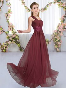 Chiffon One Shoulder Sleeveless Lace Up Ruching Wedding Guest Dresses in Burgundy