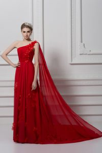 Dramatic Red Sleeveless Ruching and Hand Made Flower Lace Up Celebrity Inspired Dress