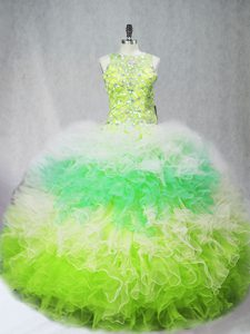 Vintage Multi-color Sleeveless Tulle Zipper Quinceanera Dresses for Sweet 16 and Quinceanera