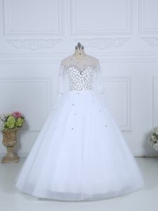 Glittering Scoop Long Sleeves Tulle Wedding Dress Beading Lace Up
