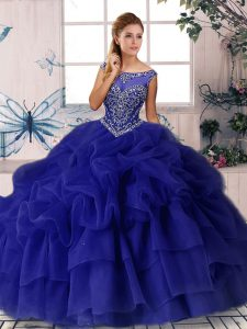 Scoop Sleeveless Brush Train Zipper Vestidos de Quinceanera Purple Organza