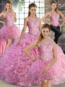 Sleeveless Floor Length Beading Lace Up Sweet 16 Quinceanera Dress with Rose Pink