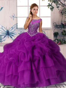 Scoop Sleeveless Sweet 16 Quinceanera Dress Brush Train Beading and Pick Ups Purple Organza