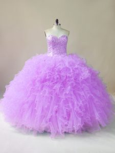 Low Price Lilac Tulle Lace Up Quinceanera Gown Sleeveless Floor Length Beading and Ruffles