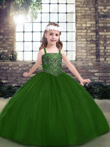 Green Straps Lace Up Beading Pageant Dress Sleeveless
