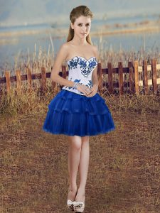 Adorable Royal Blue Lace Up Prom Dresses Embroidery and Ruffled Layers Sleeveless Mini Length