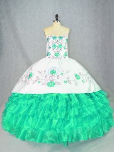 Charming Turquoise Sleeveless Embroidery and Ruffled Layers Floor Length Quinceanera Dresses