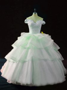 Apple Green Sleeveless Organza Brush Train Lace Up Sweet 16 Dress