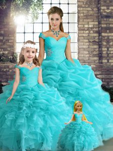 Floor Length Lace Up Sweet 16 Dresses Aqua Blue for Military Ball and Sweet 16 and Quinceanera with Beading and Ruffles and Pick Ups