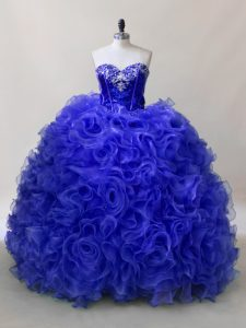 Cute Royal Blue Ball Gowns Fabric With Rolling Flowers Sweetheart Sleeveless Ruffles and Sequins Floor Length Lace Up 15 Quinceanera Dress