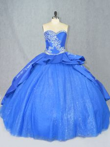 Fashion Blue Sweetheart Neckline Beading and Embroidery Quince Ball Gowns Sleeveless Lace Up