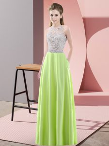 Top Selling Yellow Green Satin Backless Prom Dress Sleeveless Floor Length Beading