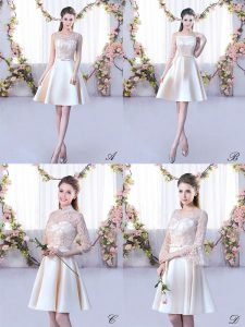 Smart A-line Court Dresses for Sweet 16 Champagne Scoop Satin Sleeveless Mini Length Lace Up