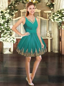 Sleeveless Mini Length Embroidery Backless Runway Inspired Dress with Turquoise