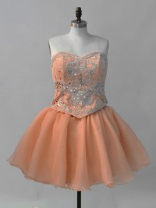 Spectacular Ball Gowns Evening Dress Orange Sweetheart Organza Sleeveless Mini Length Lace Up
