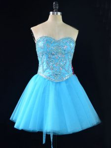 Best Sweetheart Sleeveless Cocktail Dresses Mini Length Beading Aqua Blue Tulle