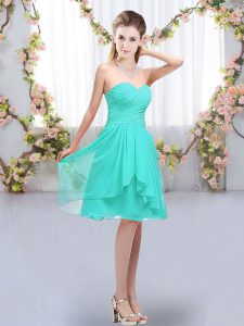 Stunning Knee Length Lace Up Quinceanera Court of Honor Dress Turquoise for Wedding Party with Ruffles and Ruching