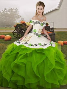 Green Ball Gowns Off The Shoulder Sleeveless Tulle Floor Length Lace Up Embroidery and Ruffles Sweet 16 Dress