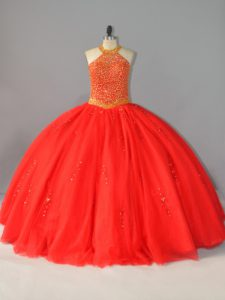 Beauteous Red Tulle Lace Up Halter Top Sleeveless Floor Length Ball Gown Prom Dress Beading