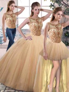 Gold Sleeveless Beading Floor Length 15th Birthday Dress