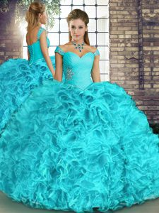 Custom Design Off The Shoulder Sleeveless Lace Up Quinceanera Gown Aqua Blue Organza
