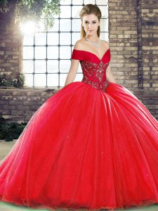 Red Ball Gowns Beading Quinceanera Gown Lace Up Organza Sleeveless