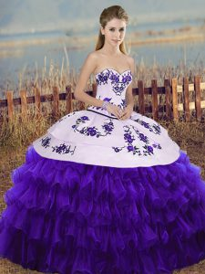 Simple Sleeveless Lace Up Floor Length Embroidery and Ruffled Layers and Bowknot 15 Quinceanera Dress