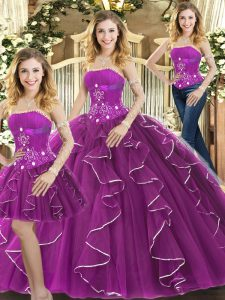 Top Selling Column/Sheath 15 Quinceanera Dress Purple Strapless Tulle Sleeveless Floor Length Lace Up