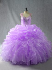 Lavender Ball Gowns Organza Straps Sleeveless Beading and Ruffles Floor Length Zipper Ball Gown Prom Dress