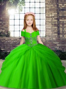 Tulle Lace Up Pageant Gowns For Girls Sleeveless Floor Length Beading
