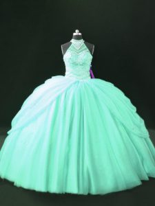 Apple Green Sleeveless Tulle Lace Up Vestidos de Quinceanera for Sweet 16 and Quinceanera