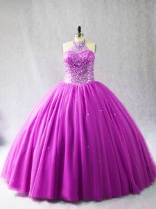 Attractive Lilac Sleeveless Tulle Brush Train Lace Up 15 Quinceanera Dress for Sweet 16 and Quinceanera
