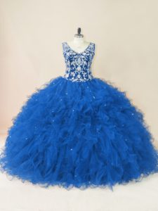 Fancy Blue Sweet 16 Dresses V-neck Sleeveless Backless