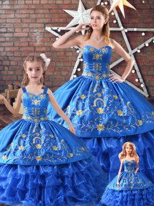 Blue Sleeveless Satin and Organza Lace Up Quince Ball Gowns for Sweet 16 and Quinceanera