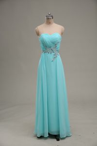 Sexy Aqua Blue Empire Appliques and Ruching Dress for Prom Zipper Chiffon Sleeveless Floor Length