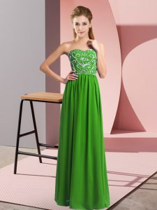 Popular Green Empire Sweetheart Sleeveless Chiffon Floor Length Lace Up Beading Red Carpet Prom Dress
