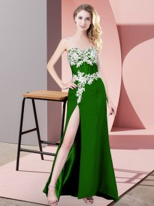 Green Sleeveless Chiffon Zipper Homecoming Dress for Prom and Party and Military Ball