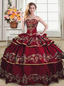 Affordable Wine Red Sleeveless Embroidery and Ruffled Layers Floor Length Quinceanera Gowns