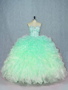 Teal Sweetheart Lace Up Beading and Ruffles Sweet 16 Dresses Sleeveless