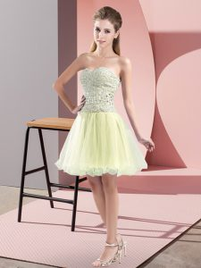 Yellow Green Homecoming Dress Prom and Party with Beading Sweetheart Sleeveless Zipper