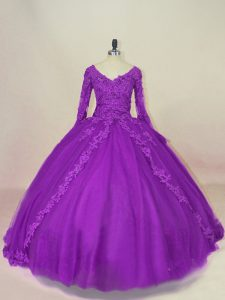 New Arrival Purple 15th Birthday Dress Sweet 16 and Quinceanera with Appliques V-neck Long Sleeves Lace Up