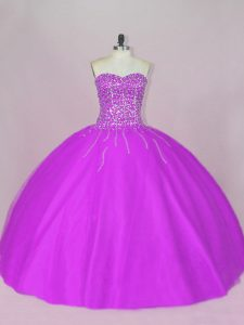 Luxury Purple Lace Up Sweetheart Beading Quince Ball Gowns Tulle Sleeveless