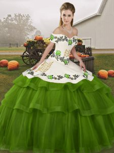 Olive Green Off The Shoulder Lace Up Embroidery and Ruffled Layers Sweet 16 Dresses Brush Train Sleeveless