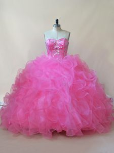 Hot Pink Lace Up 15 Quinceanera Dress Beading and Ruffles Sleeveless Floor Length