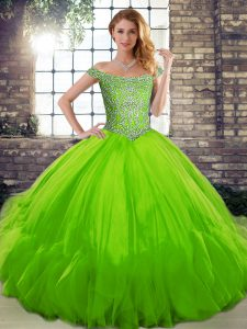 Sleeveless Floor Length Beading and Ruffles Lace Up Sweet 16 Quinceanera Dress