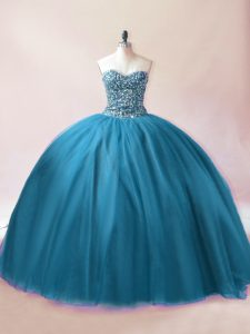 New Style Floor Length Ball Gowns Sleeveless Teal Quinceanera Dress Lace Up